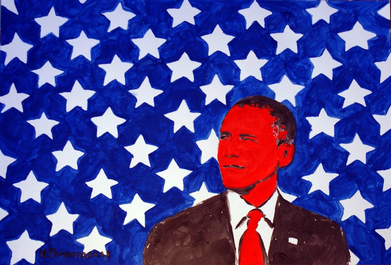 На Росії художниця намалювала Обаму груддю - фото 1