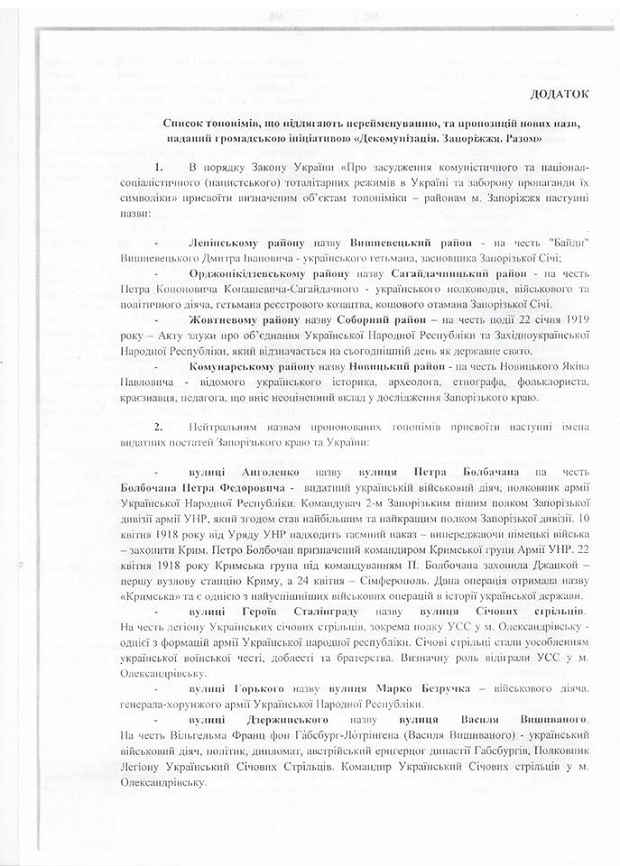 В'ятрович звернувся до запорізького мера з топонімічними пропозиціями (ДОКУМЕНТ) - фото 4