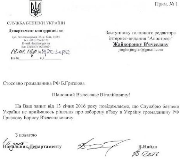 В СБУ пояснили, чому Гризлова пустили в Украъну (ДОКУМЕНТ) - фото 1