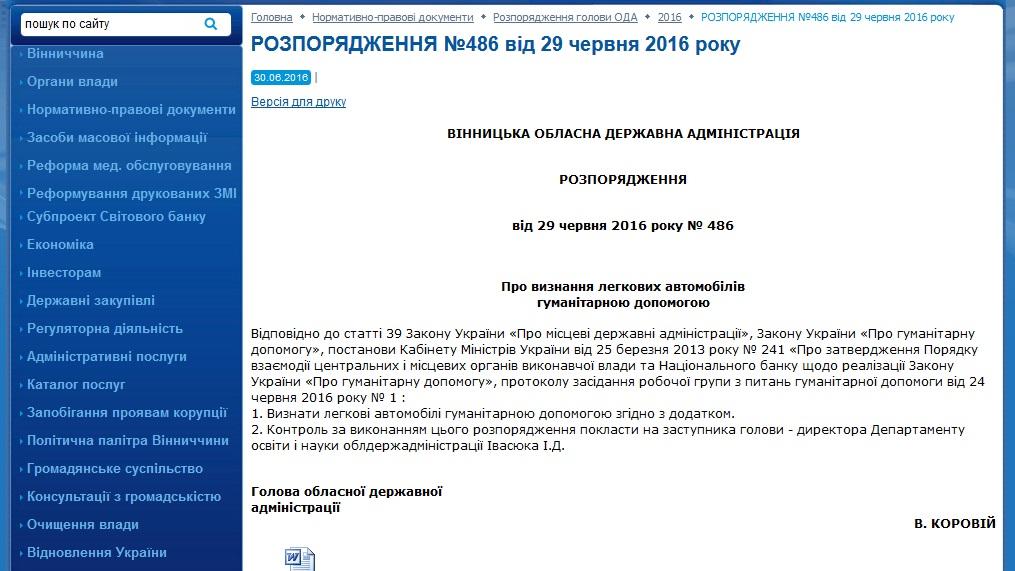"""Директор """"Вінницяліссервіс"""" відхрещується від новенького """"Фольцвагена"""", який йому прислали з Польщі як гуманітарку - фото 1"""