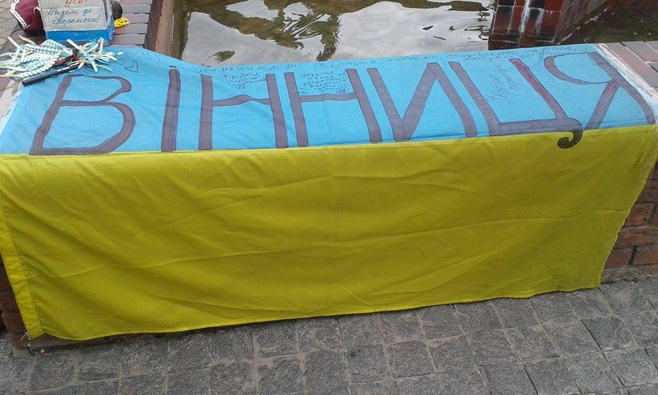 Відома волонтерка розвішала майже дві сотні прапорів перед Вінницькою міськрадою - фото 1