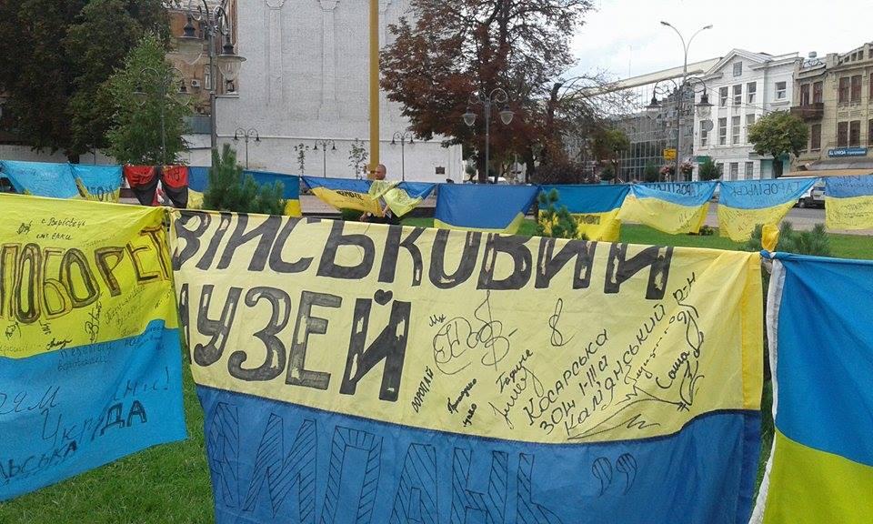 Відома волонтерка розвішала 185 прапорів перед Вінницькою міськрадою - фото 6