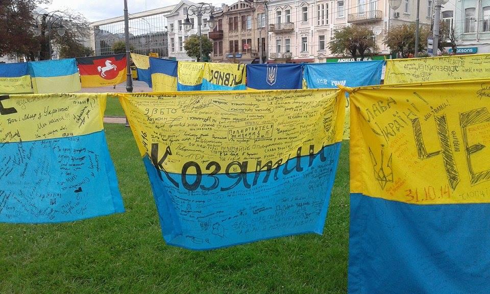Відома волонтерка розвішала 185 прапорів перед Вінницькою міськрадою - фото 8