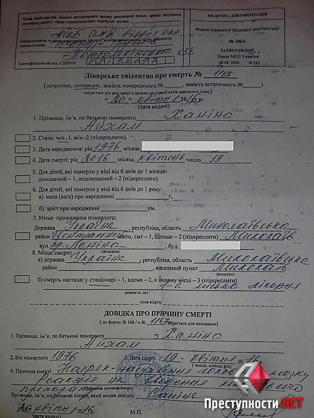 """Смертельний укол: стало відомо чому помер клієнт приватної """"швидкої"""" у Миколаєві - фото 1"""