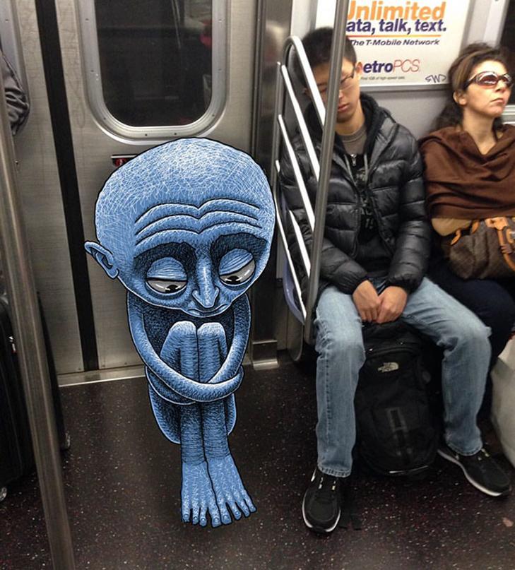 Як художник з Нью-Йорку нацьковує монстрів на пасажирів метро - фото 16