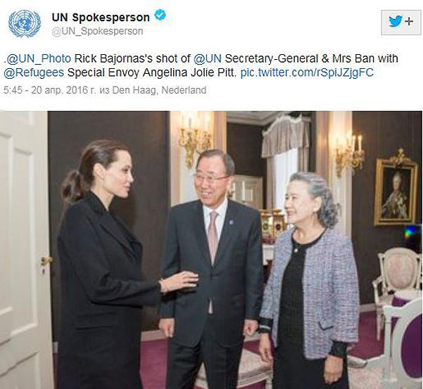 Після госпіталізації Джолі зустрілася з секретарем ООН Пан Гі Муном - фото 1