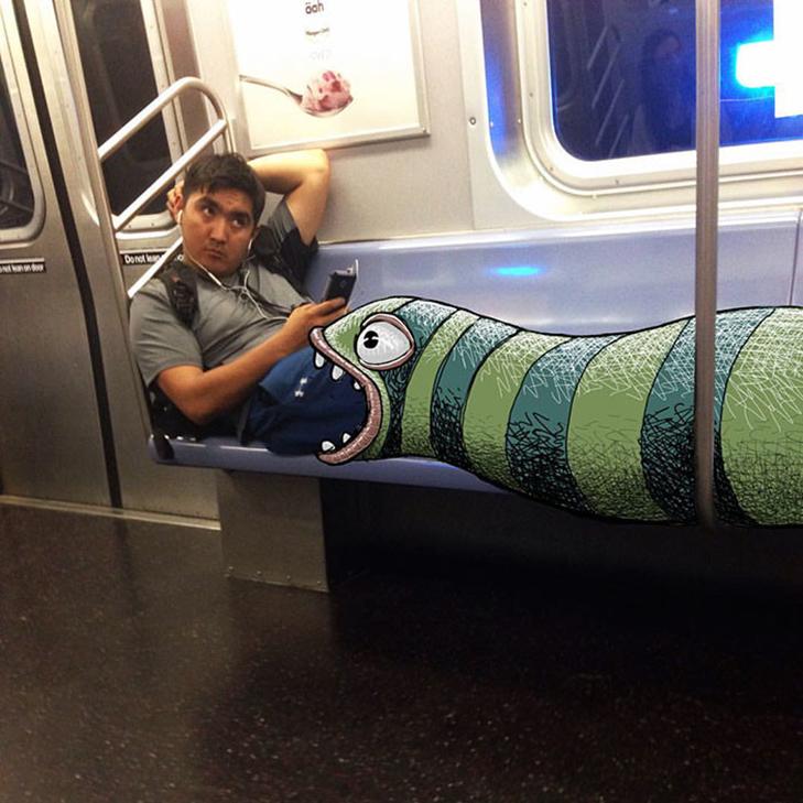 Як художник з Нью-Йорку нацьковує монстрів на пасажирів метро - фото 7