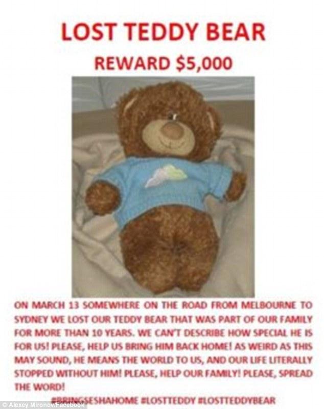 Пара з Росії пропонує $5 тис за плюшевого ведмедика, який загубився  - фото 1