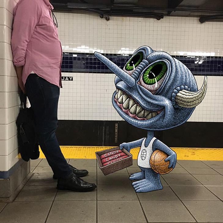 Як художник з Нью-Йорку нацьковує монстрів на пасажирів метро - фото 27
