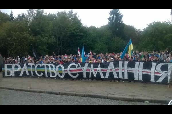 Українські та білоруські ультрас пройшли маршем по Львову (ФОТО, ВІДЕО)  - фото 1