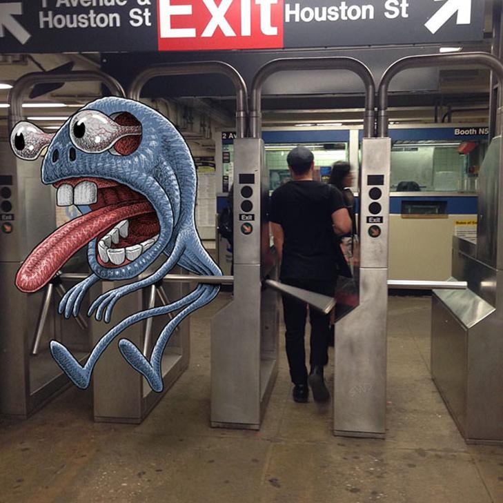 Як художник з Нью-Йорку нацьковує монстрів на пасажирів метро - фото 32