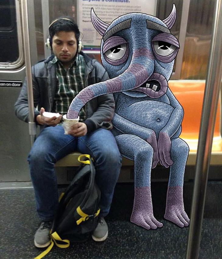 Як художник з Нью-Йорку нацьковує монстрів на пасажирів метро - фото 2