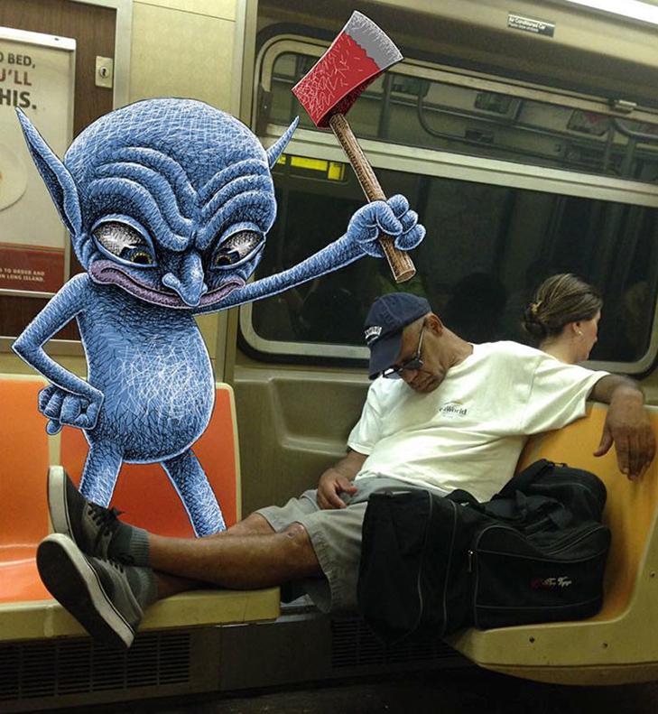 Як художник з Нью-Йорку нацьковує монстрів на пасажирів метро - фото 6