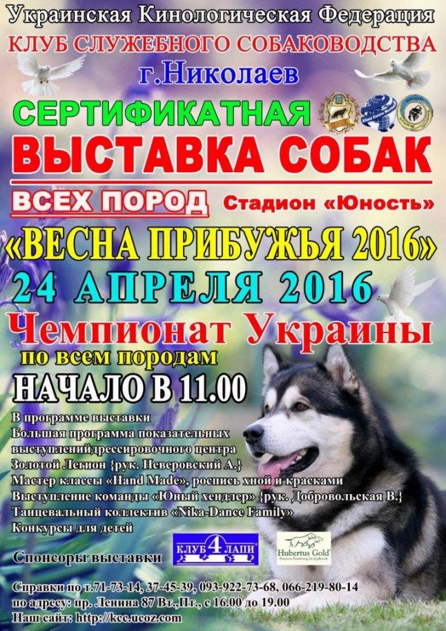 """Миколаївців запрошують на виставку собак """"Весна Прибужжя-2016"""""""
