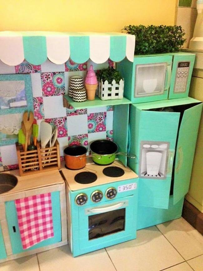 Как сделать кухню своими руками из картона видео