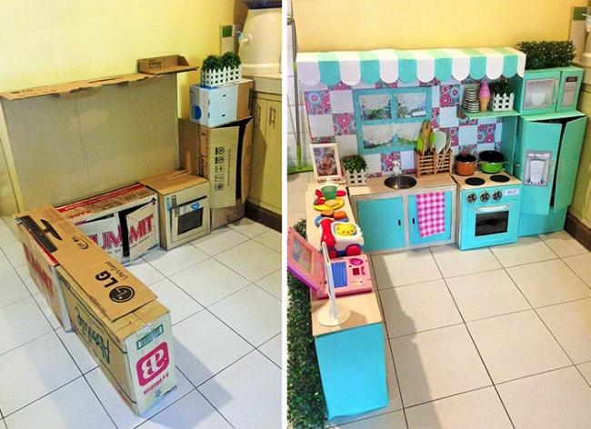 Як мама зробила дивовижну міні-кухню для доньки із картонних коробок  - фото 1