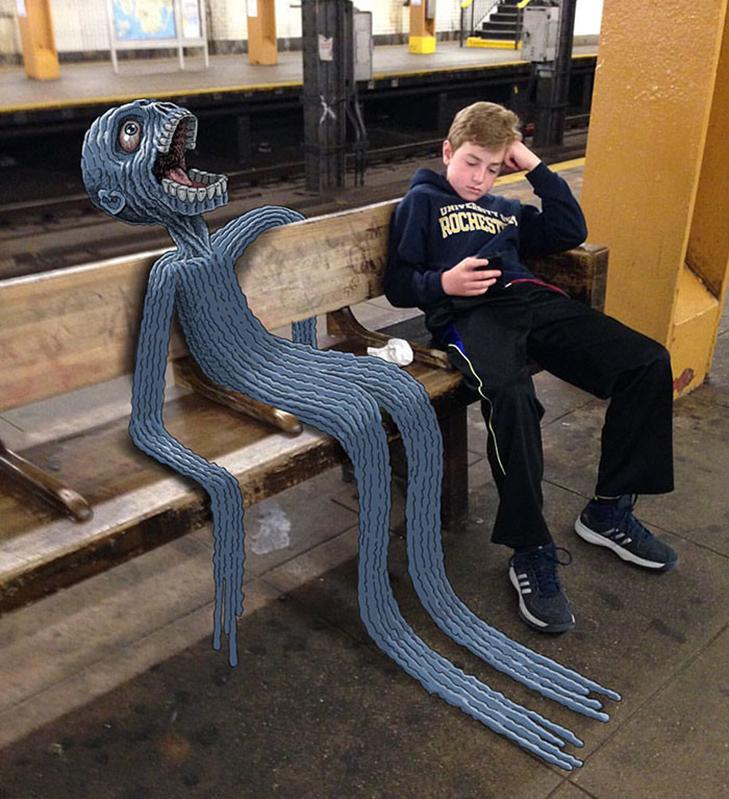 Як художник з Нью-Йорку нацьковує монстрів на пасажирів метро - фото 22