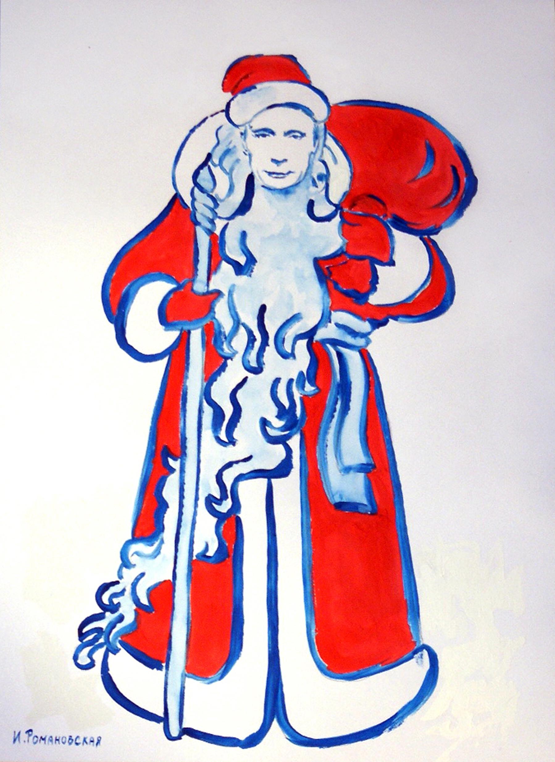 Путіна у незвичайний способі намалювали Дідом Морозом, а Медведєва - сніговиком - фото 2