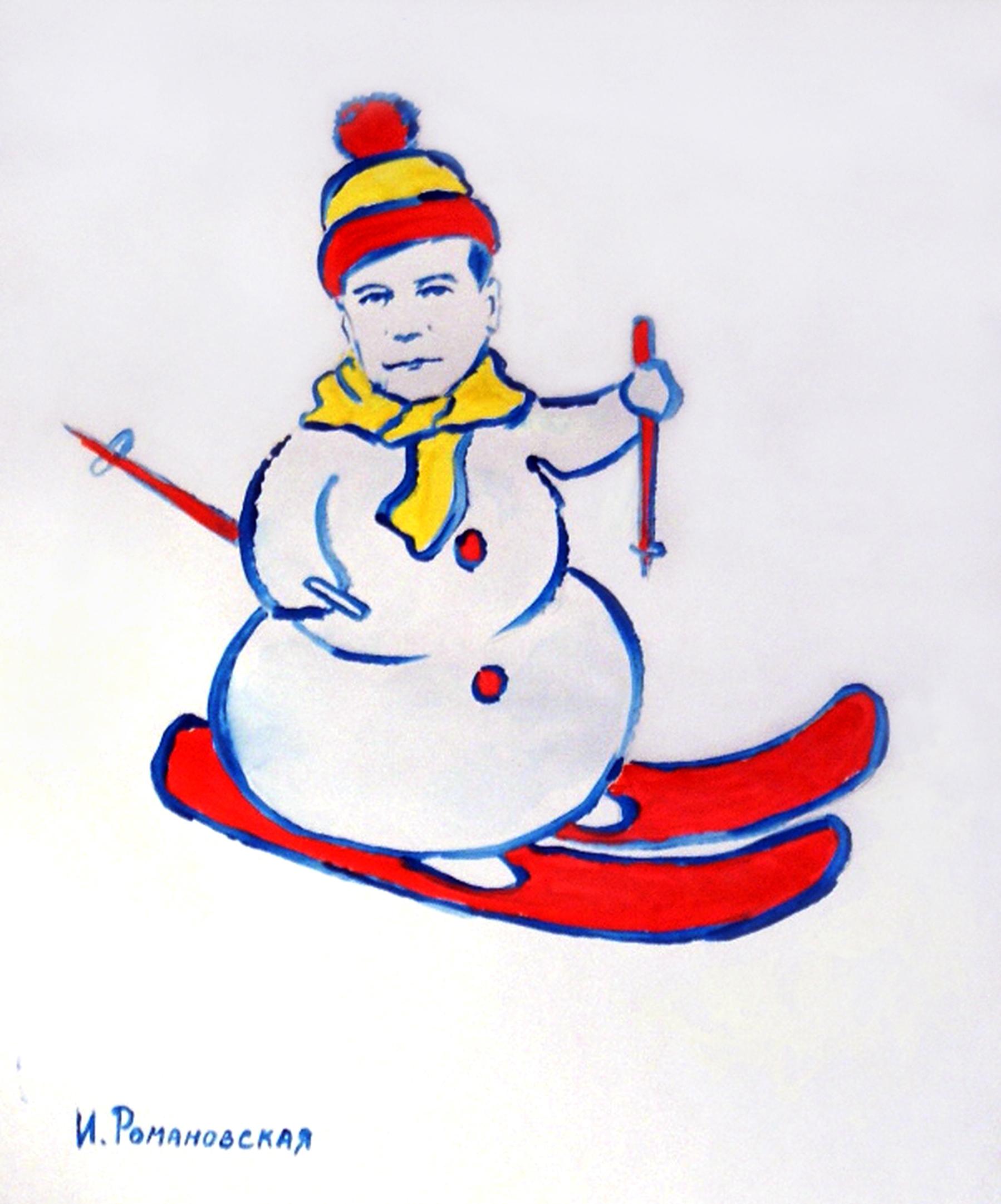 Путіна у незвичайний способі намалювали Дідом Морозом, а Медведєва - сніговиком - фото 1