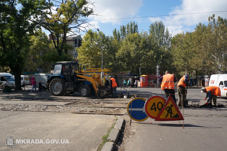 У Миколаєві почали ремонтувати трамвайні переїзди