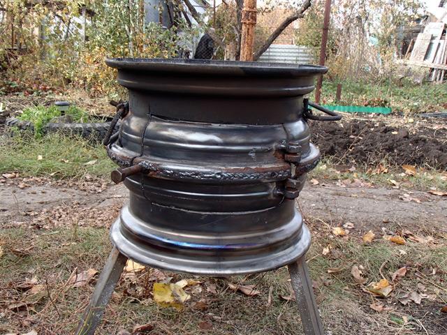 Буржуйка из колесных дисков