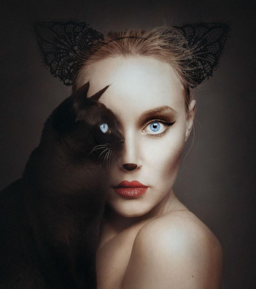 У мережі з'явилася моторошна фотосесія людей із очима тварин  - фото 2