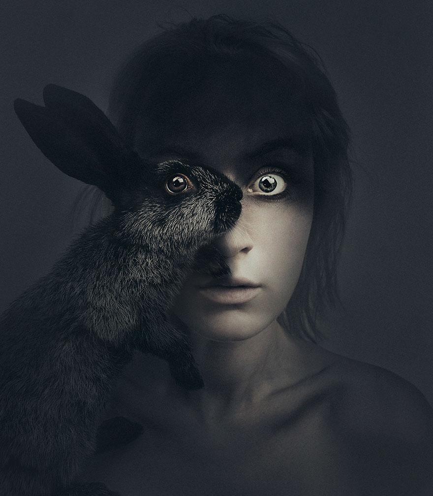 У мережі з'явилася моторошна фотосесія людей із очима тварин  - фото 1