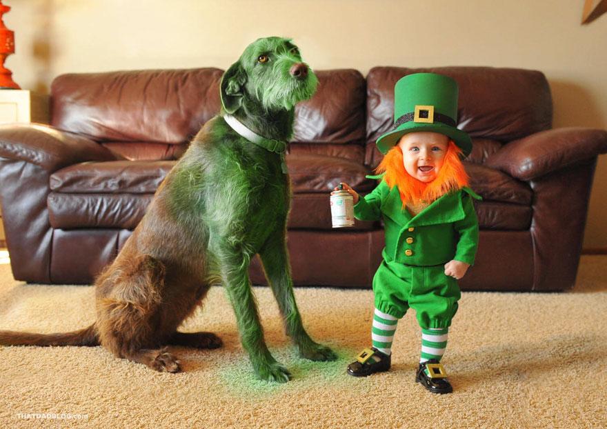Як татусь перетвори 6-місячного сина на лепрекона і пофарбував пса в зелений колір - фото 1