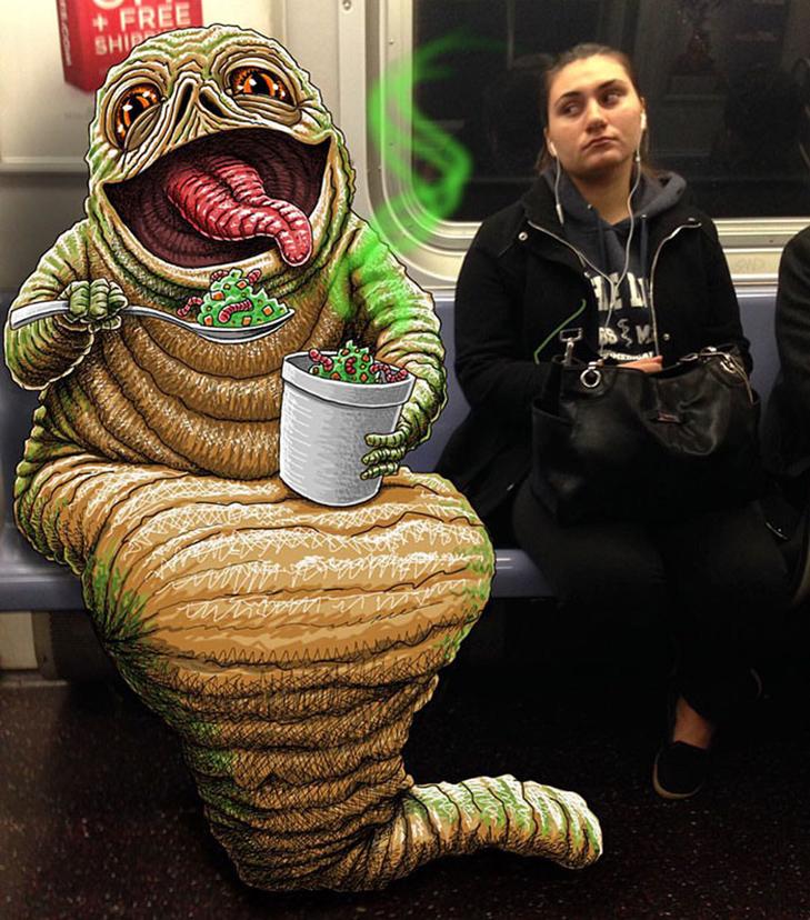 Як художник з Нью-Йорку нацьковує монстрів на пасажирів метро - фото 5