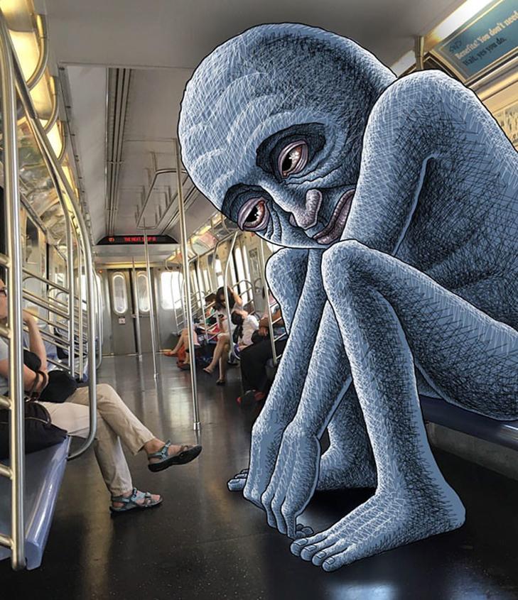 Як художник з Нью-Йорку нацьковує монстрів на пасажирів метро - фото 29