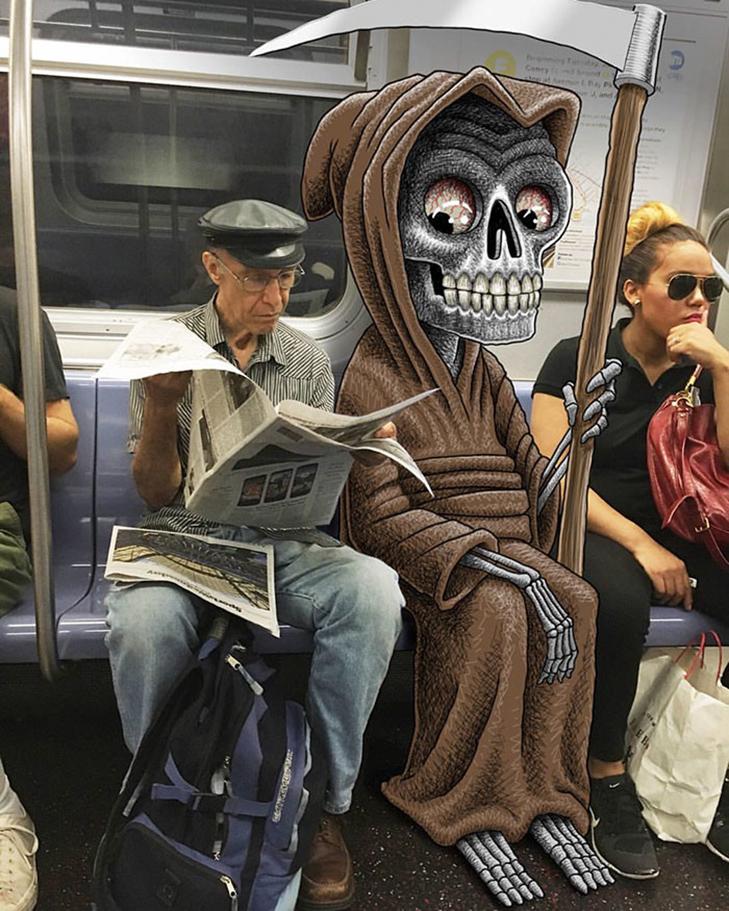 Як художник з Нью-Йорку нацьковує монстрів на пасажирів метро - фото 19