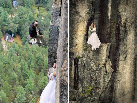 Як виглядає весільна фотосесія на шалено високій скелі - фото 2