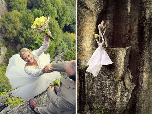 Як виглядає весільна фотосесія на шалено високій скелі - фото 1