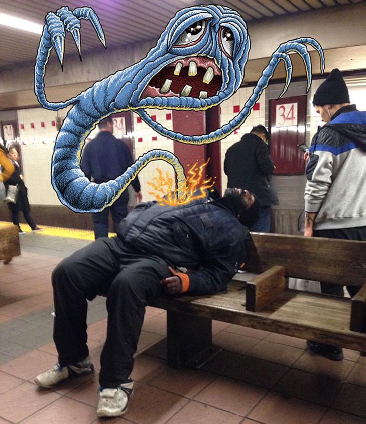 Як художник з Нью-Йорку нацьковує монстрів на пасажирів метро - фото 24