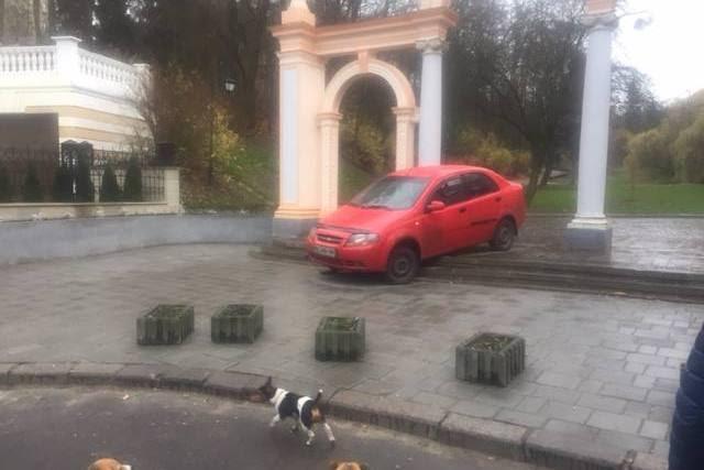 У Львові водій автомобіля сам себе покарав за проїзд парком - фото 2