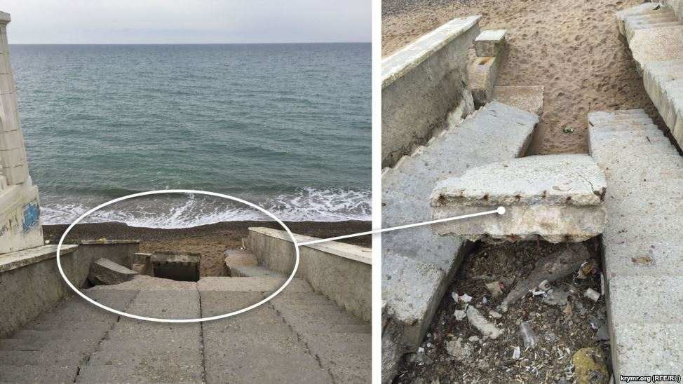 Розбиті сходи, брудні пляжі: у Криму показали готовність до курортного сезону (ФОТО) - фото 3