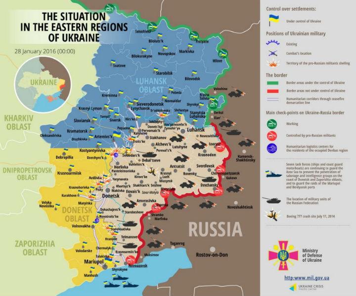 Карта АТО на 28 січня: банди на Донбасі гатять з гранатометів і зеніток - фото 1