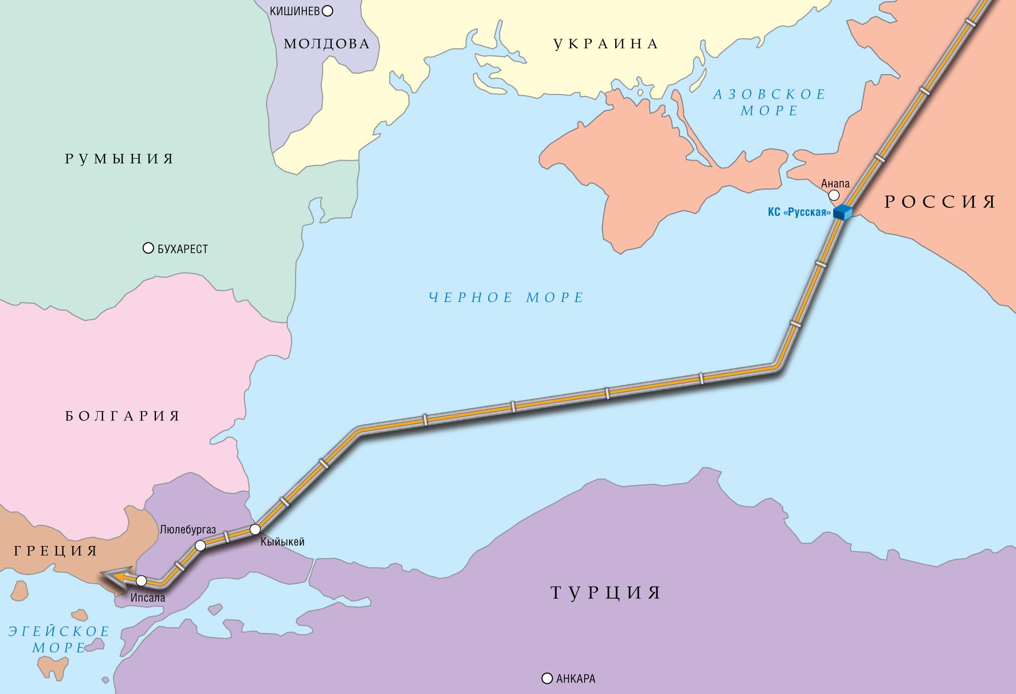 Южный поток схема анапа