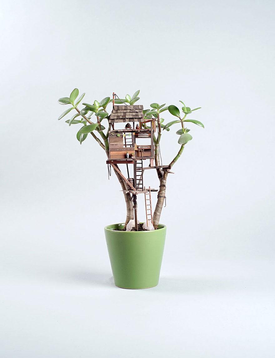 Як виглядають мініатюрні будиночки на кімнатних рослинах - фото 1