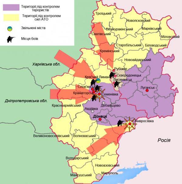 Луганской областей: карта