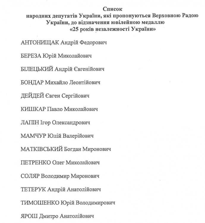 Уряд запропонував Порошенку нагородити 14 нардепів (СПИСОК) - фото 1