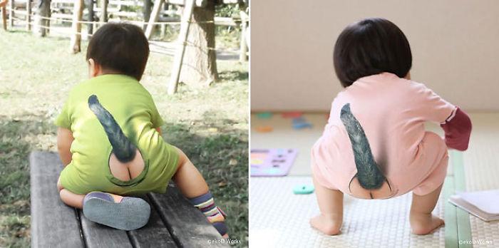 Японці вигадали новий одяг для малюків із голими сідницями та котячим хвостом - фото 1
