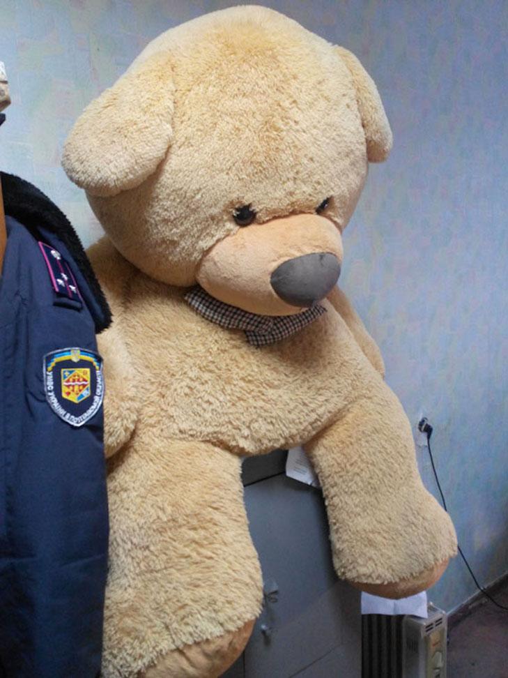 Ведмедик для коханої: У Полтаві хлопець вкрав двометрову іграшку для своєї дівчини - фото 1