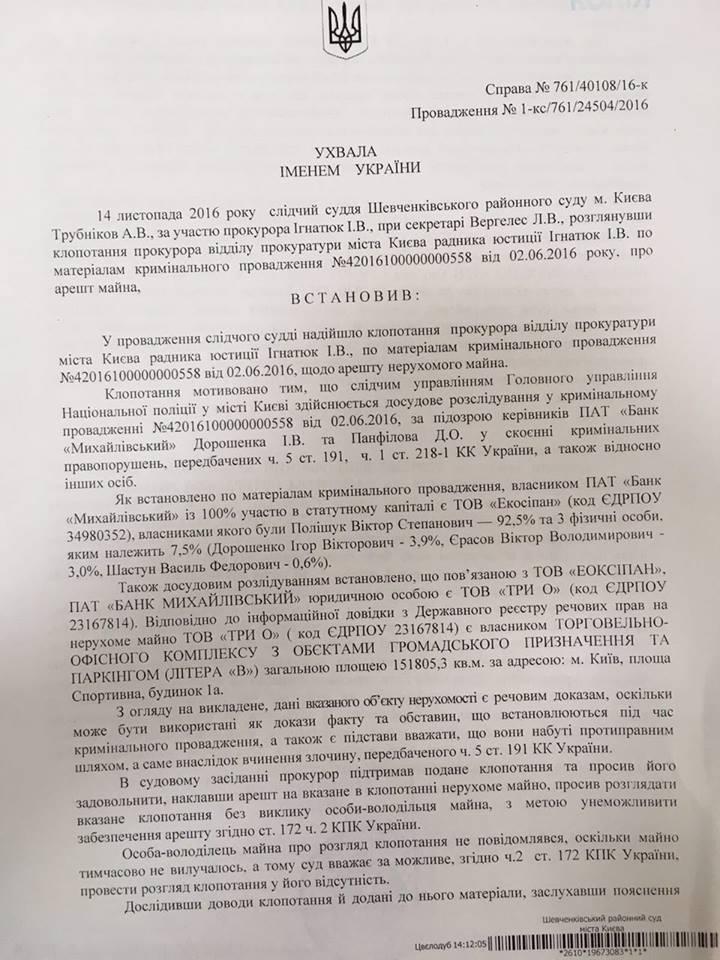 """Суд наклав арешт на ТРЦ, який належить власнику банку """"Михайлівський"""", - Луценко - фото 1"""