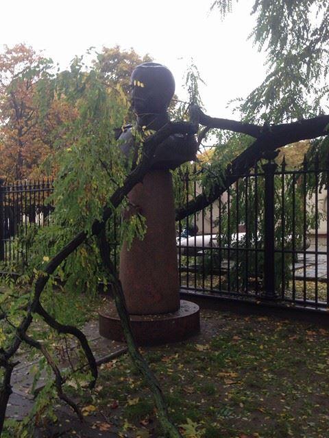 У Миколаєві сухе дерево ледь не завалило погруддя адмірала Корнілова - фото 2
