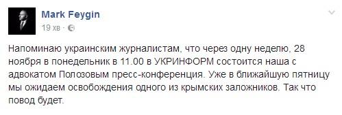 Фейгін: 25 листопада очікуємо звільнення одного з кримських заручників - фото 1