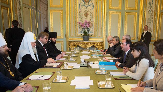 Встолице франции прошла встреча Олланда ипатриарха Кирилла