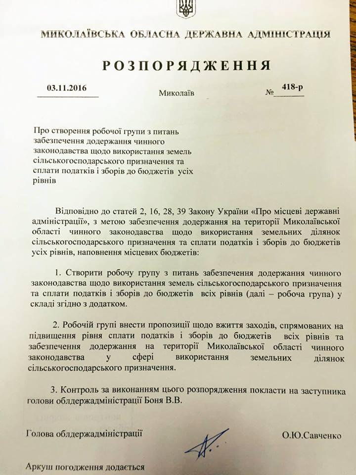Використання земель на Миколаївщині контролюватиме спеціальна робоча група