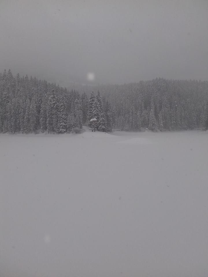 """Дивовижно! Озеро Синевир """"сховалось"""" під льодом і щільним шаром снігу"""