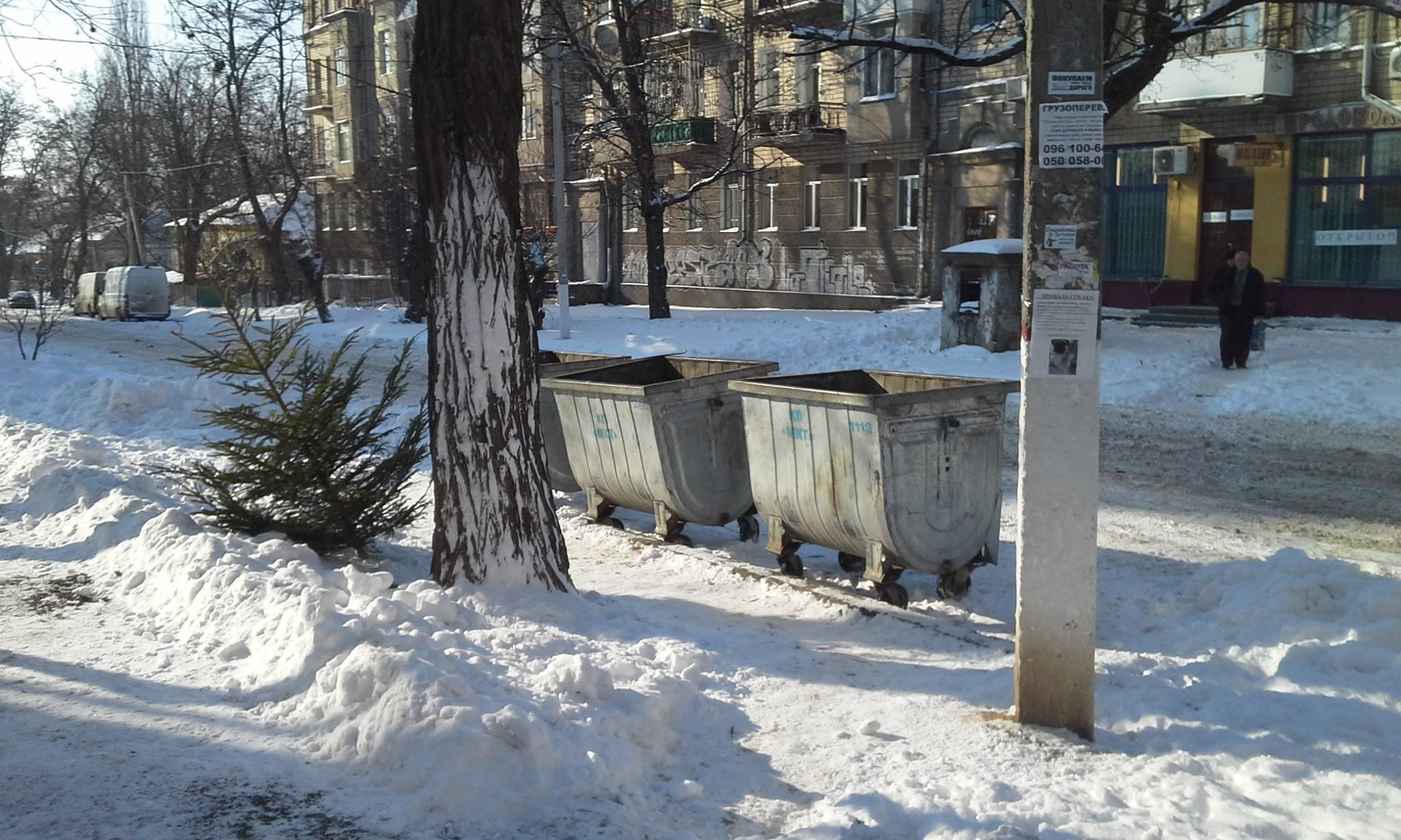 """Миколаївці почали """"прикрашати"""" смітники ялинками"""
